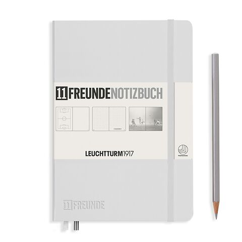 Notebook Medium (A5), 11FREUNDE, Hardcover, 253 numbered pages, White, plain/dotted