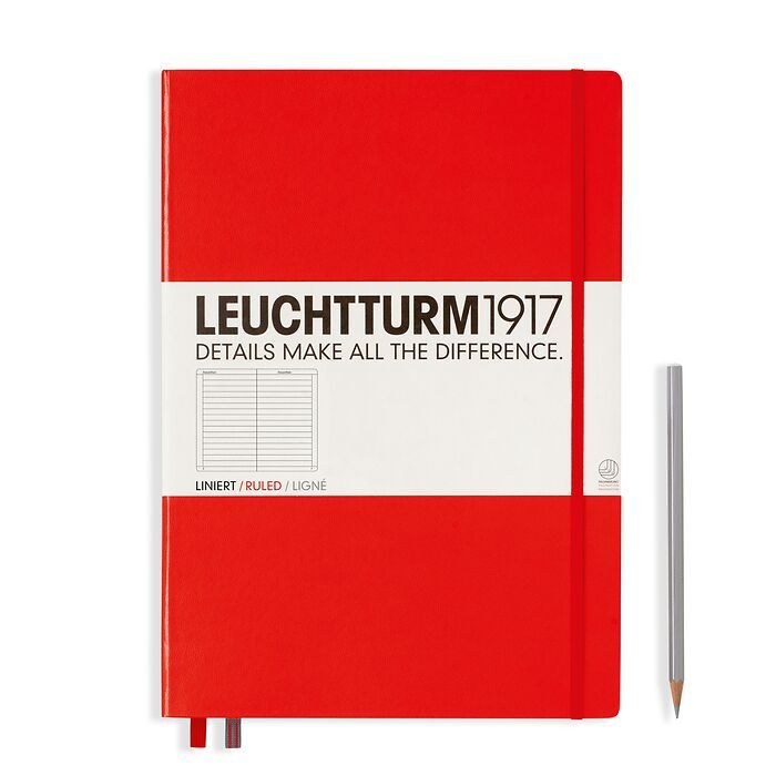 Notebook Master Classic (A4+), Hardcover, 233 numbered pages, Red, ruled