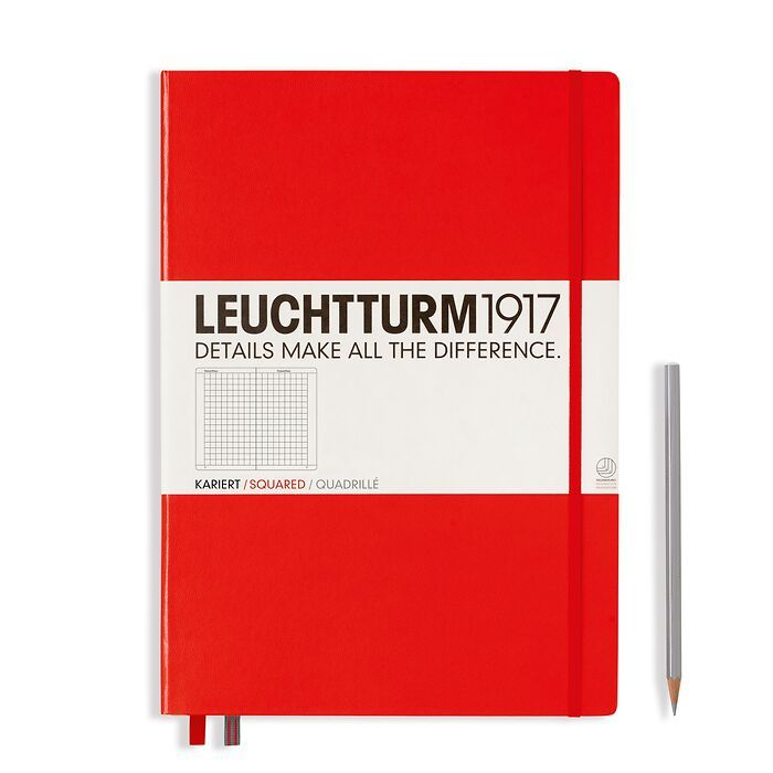 Notebook Master Classic (A4+), Hardcover, 233 numbered pages, Red, squared