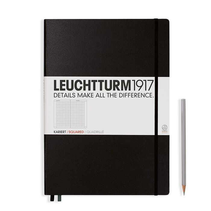 Notebook Master Classic (A4+), Hardcover, 233 numbered pages, Black, squared