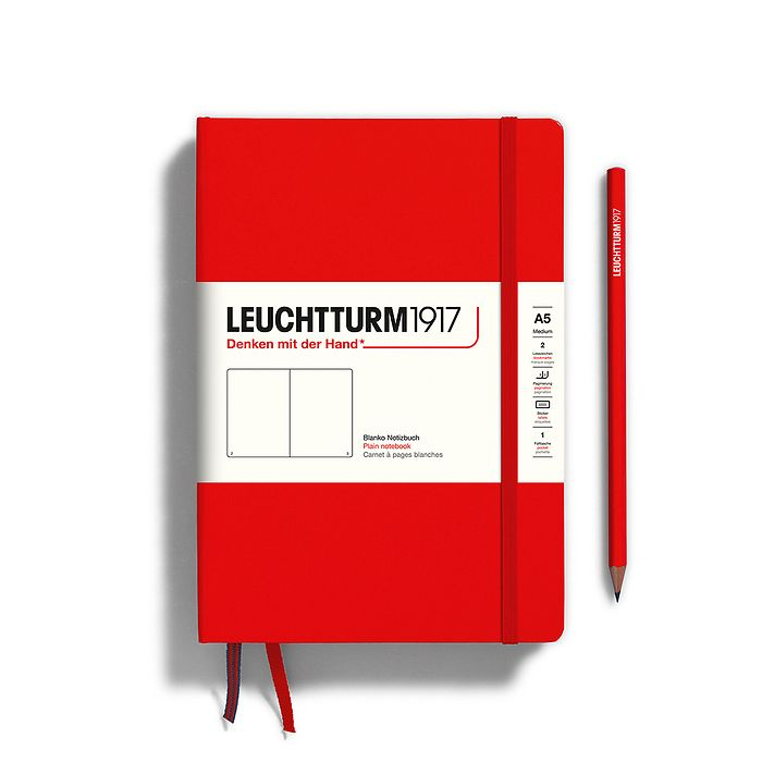 Notebook Medium (A5), Hardcover, 251 numbered pages, Red, plain