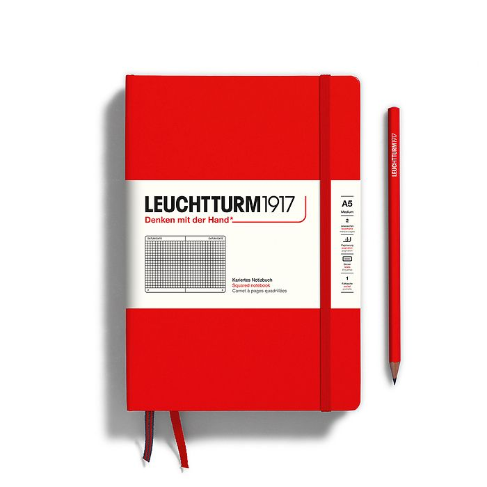 Notebook Medium (A5), Hardcover, 251 numbered pages, Red, squared