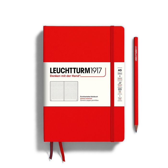 Notebook Medium (A5), Hardcover, 251 numbered pages, Red, dotted