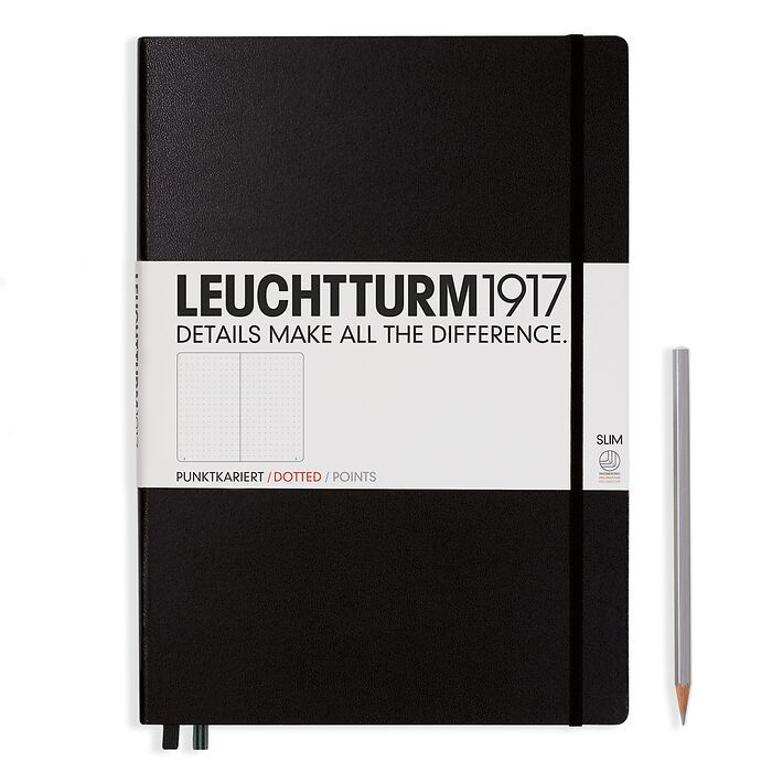Notebook Master Slim (A4+), Hardcover, 123 numbered pages, Black, dotted