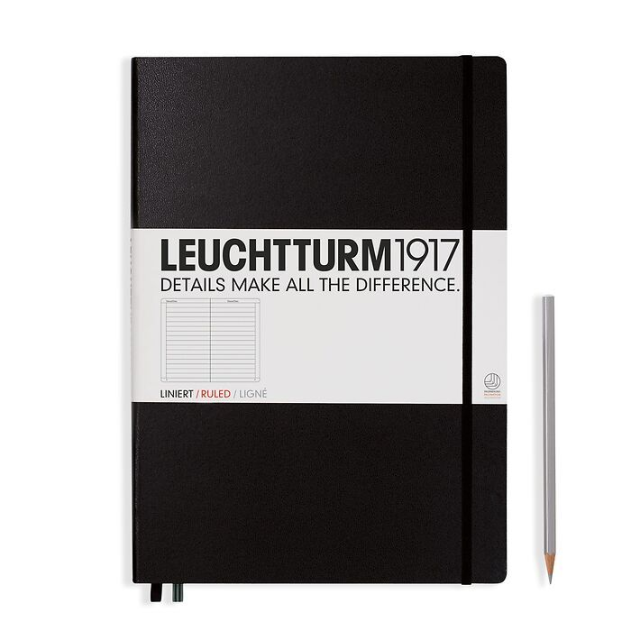 Notebook Master Classic (A4+), Hardcover, 233 numbered pages, Black, ruled
