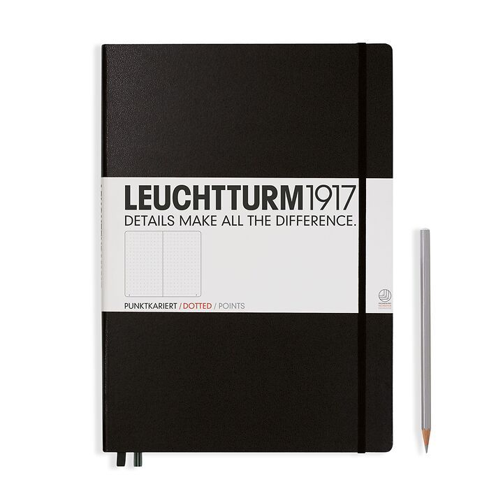 Notebook Master Classic (A4+), Hardcover, 233 numbered pages, Black, dotted