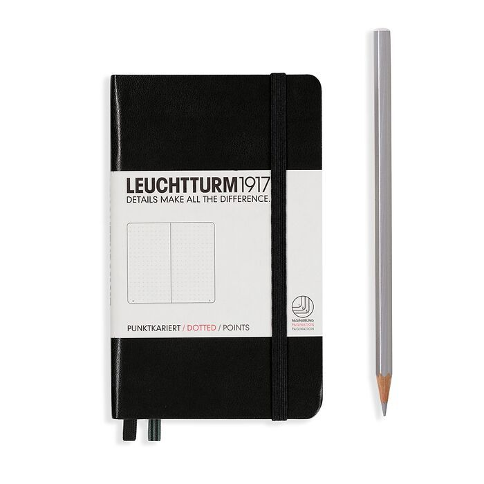 Notebook Pocket (A6), Hardcover, 187 numbered pages, Black,  dotted