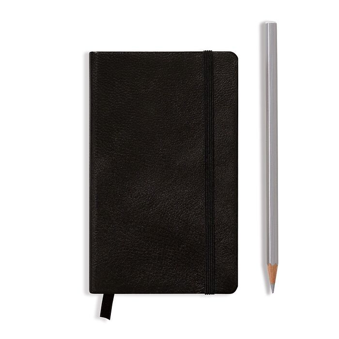 Notebook Pocket (A6), Leather, 187 numbered pages, Black, plain