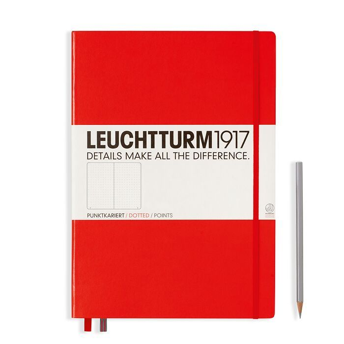 Notebook Master Classic (A4+), Hardcover, 233 numbered pages, Red, dotted