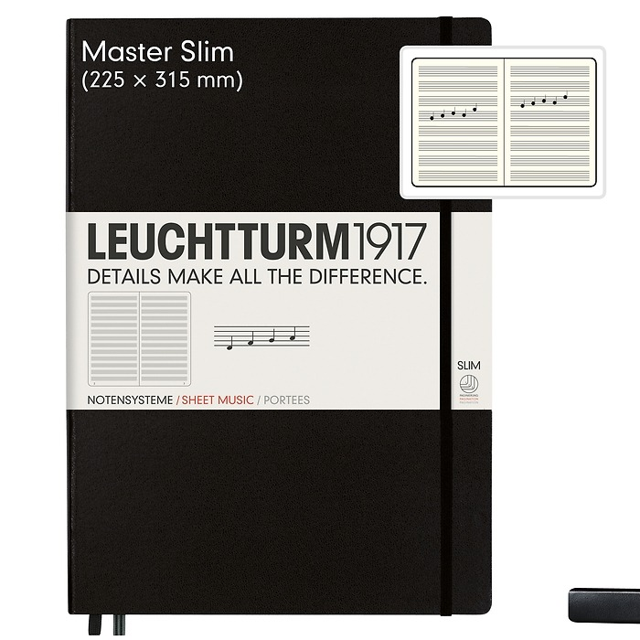 Notebook Master Slim (A4+), Hardcover, 123 numbered pages, Black, Staves