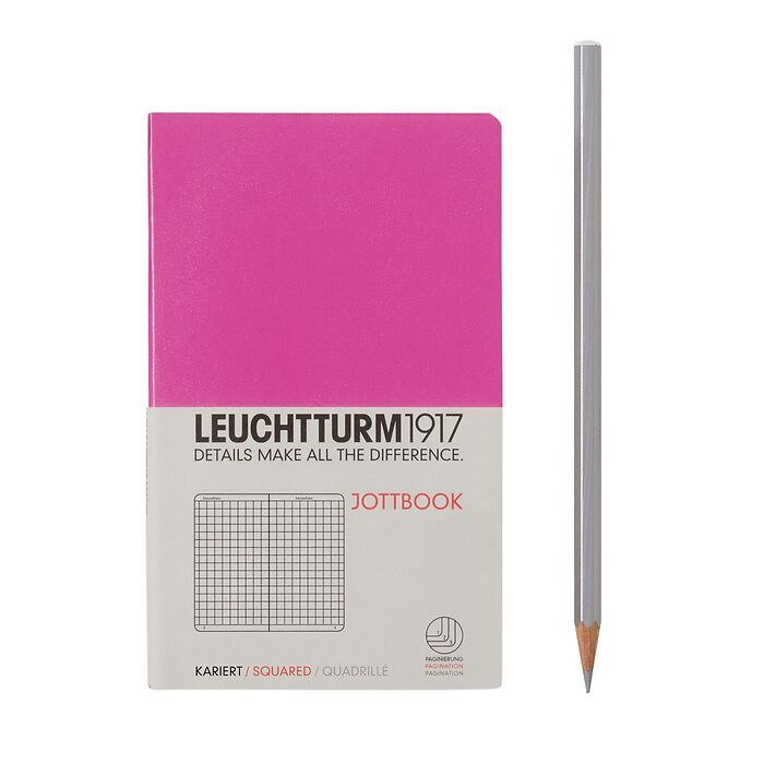 Jottbook Pocket (A6), 60 numbered pages, 16 perforated pages, Pink, squared