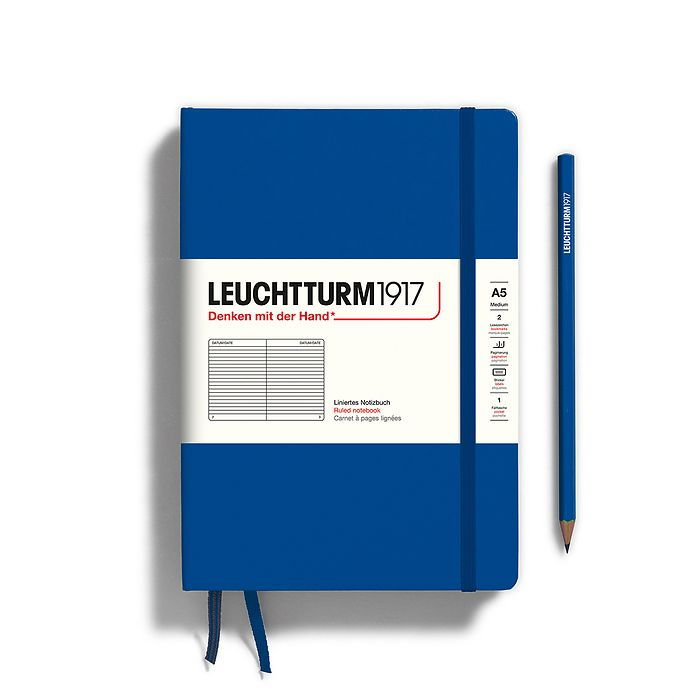 Notebook Medium (A5), Hardcover, 251 numbered pages, Royal Blue, ruled