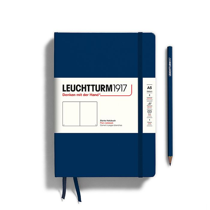 Notebook Medium (A5), Hardcover, 251 numbered pages, Navy, plain