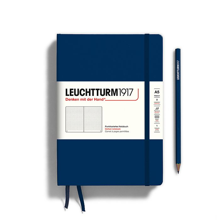 Notebook Medium (A5), Hardcover, 251 numbered pages, Navy, dotted
