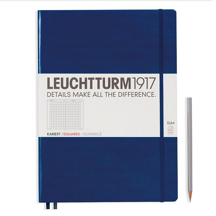 Notebook Master Slim (A4+), Hardcover, 123 numbered pages, Navy, squared