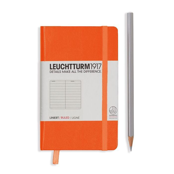 Notebook Pocket (A6), Hardcover, 187 numbered pages, Orange, ruled