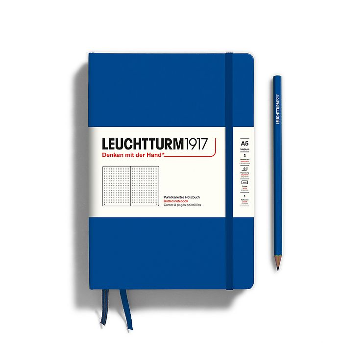 Notebook Medium (A5), Hardcover, 251 numbered pages, Royal Blue, dotted