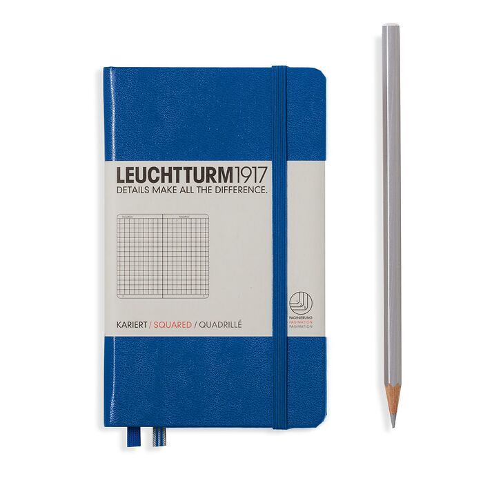 Notebook Pocket (A6), Hardcover, 187 numbered pages, Royal Blue, squared