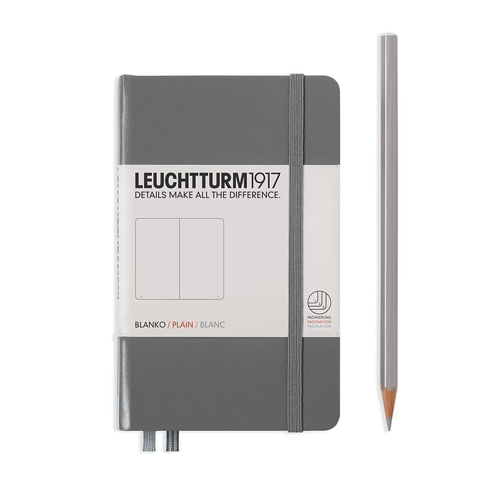 Notebook Pocket (A6), Hardcover, 187 numbered pages, Anthracite, plain