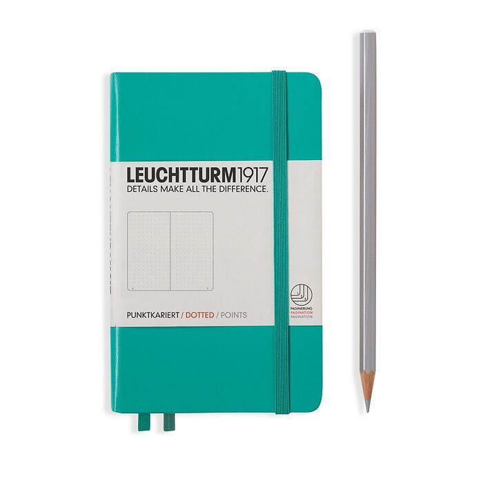 Notebook Pocket (A6), Hardcover, 187 numbered pages, Emerald, dotted