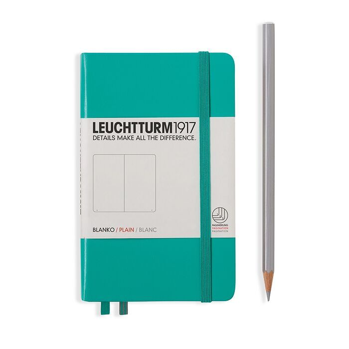Notebook Pocket (A6), Hardcover, 187 numbered pages, Emerald, plain