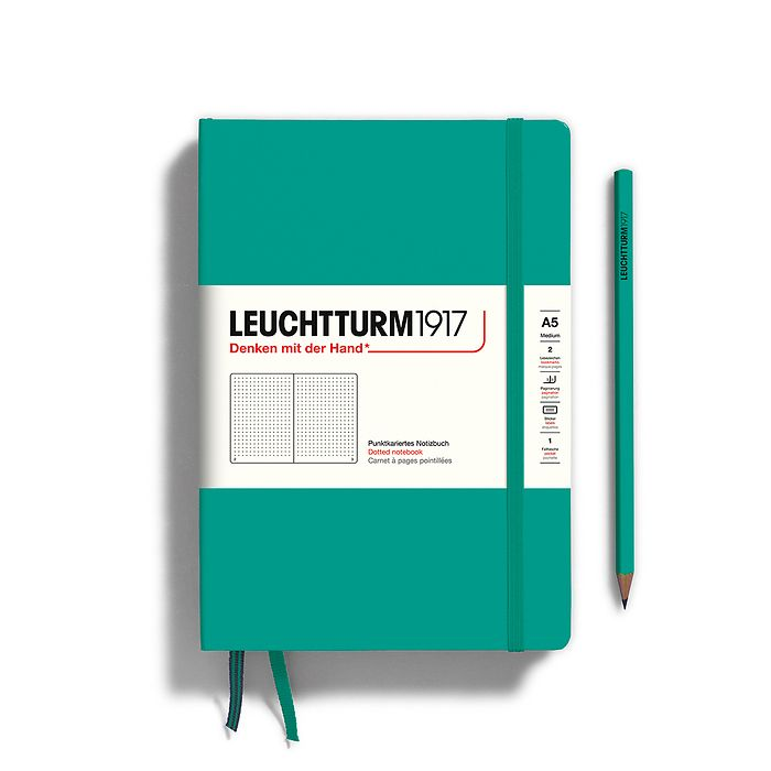 Notebook Medium (A5), Hardcover, 251 numbered pages, Emerald, dotted