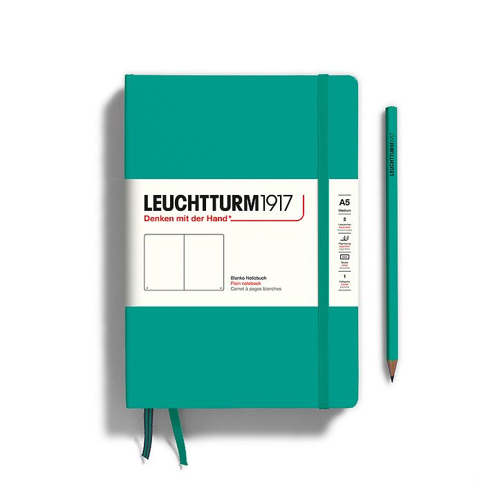Notebook Medium (A5), Hardcover, 251 numbered pages, Emerald, plain