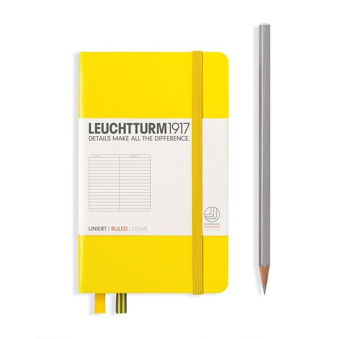 Notebook Pocket (A6), Hardcover, 187 numbered pages, Lemon,  ruled