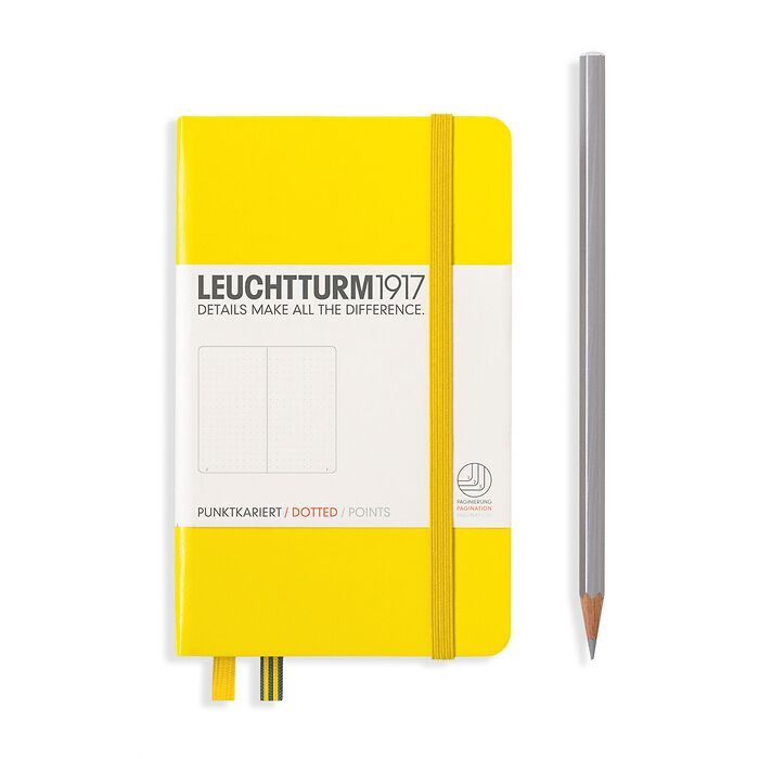 Notebook Pocket (A6), Hardcover, 187 numbered pages, Lemon,  dotted