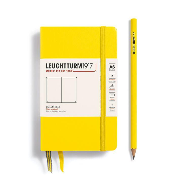 Notebook Pocket (A6), Hardcover, 187 numbered pages, Lemon,  plain
