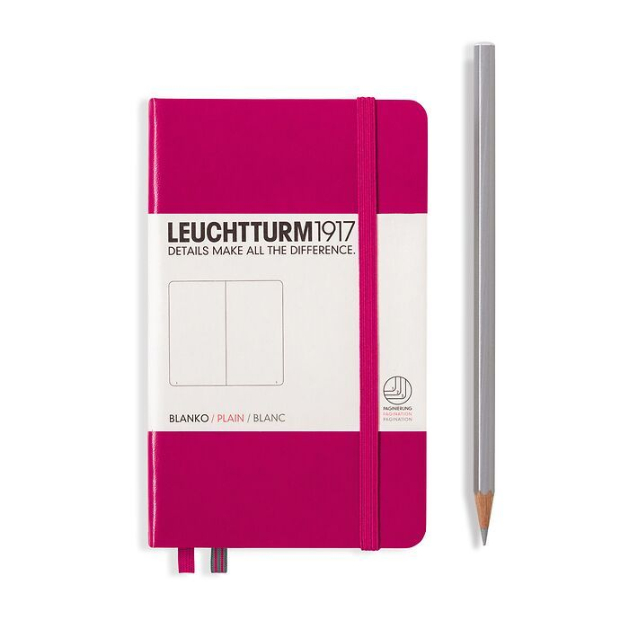 Notebook Pocket (A6), Hardcover, 187 numbered pages, Berry,  plain