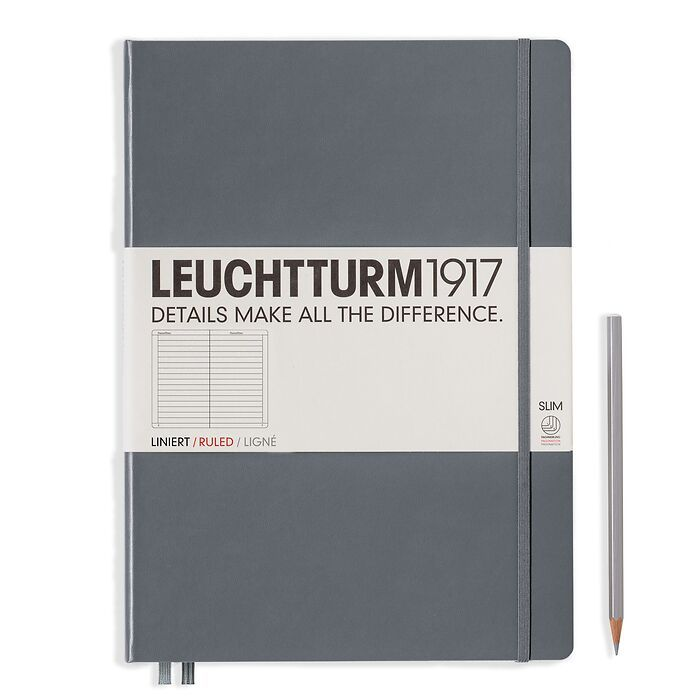 Notebook Master Slim (A4+), Hardcover, 123 numbered pages, Anthracite, ruled