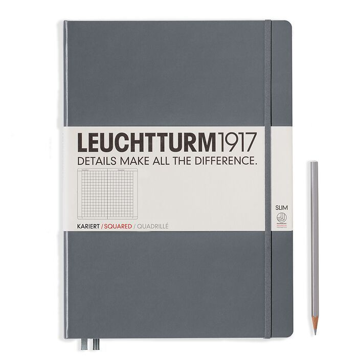 Notebook Master Slim (A4+), Hardcover, 123 numbered pages, Anthracite, squared