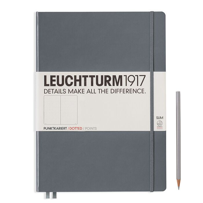Notebook Master Slim (A4+), Hardcover, 123 numbered pages, Anthracite, dotted