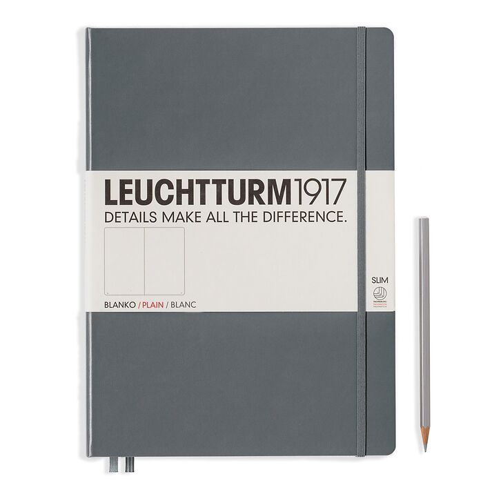 Notebook Master Slim (A4+), Hardcover, 123 numbered pages, Anthracite, plain