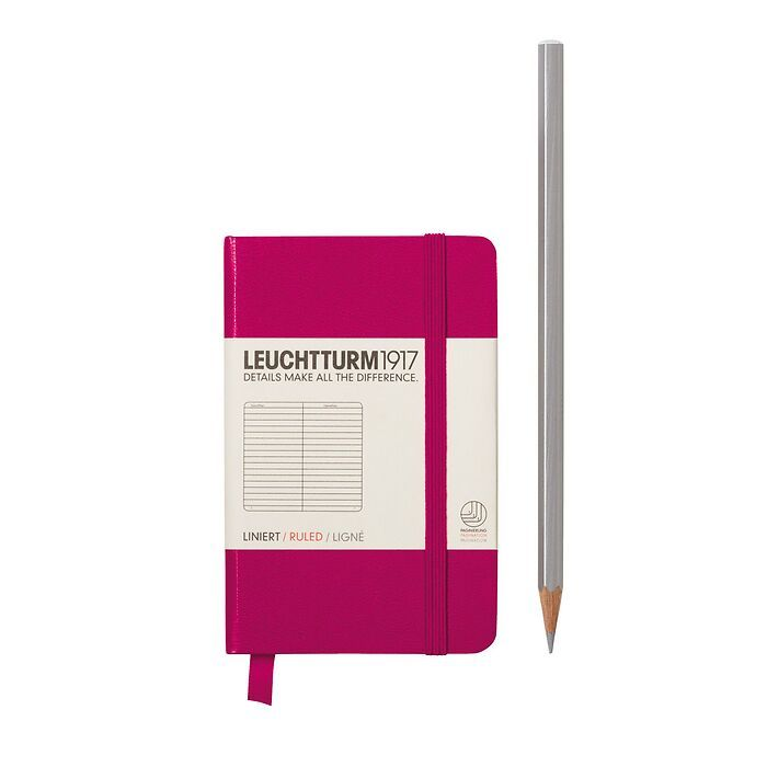 Notebook Mini (A7), Hardcover, 171 numbered pages, Berry, ruled