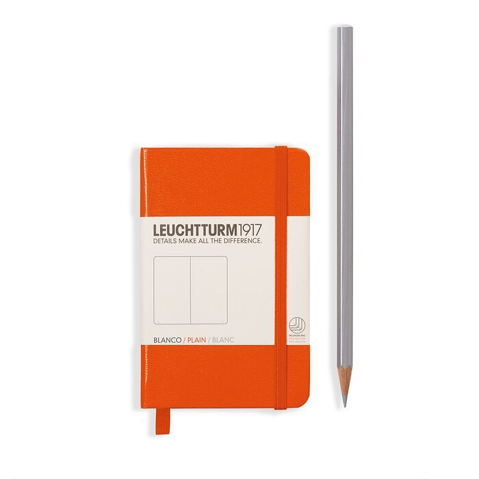 Notebook Mini (A7), Hardcover, 171 numbered pages, Orange, ruled