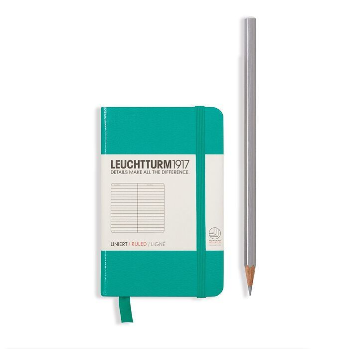 Notebook Mini (A7), Hardcover, 171 numbered pages, Emerald, ruled