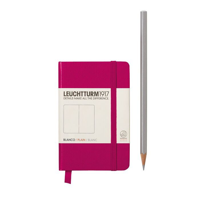 Notebook Mini (A7), Hardcover, 171 numbered pages, Berry, plain