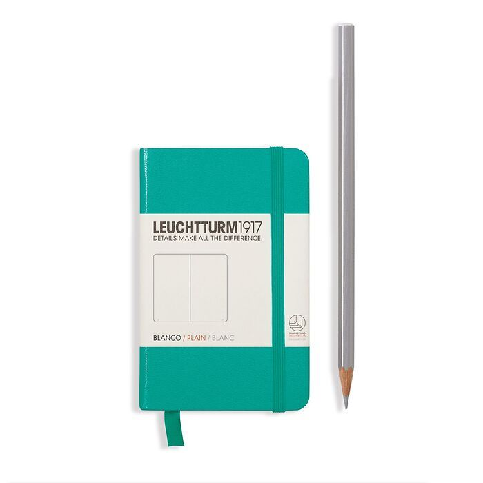 Notebook Mini (A7), Hardcover, 171 numbered pages, Emerald, plain