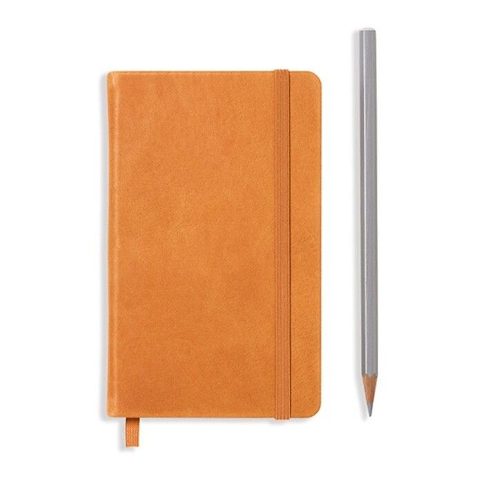 Notebook Pocket (A6), Leather, 187 numbered pages, Cognac, squared