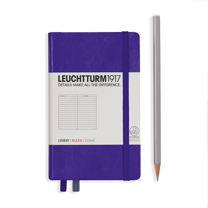 Notebook Pocket (A6), Hardcover, 187 numbered pages, Purple, ruled