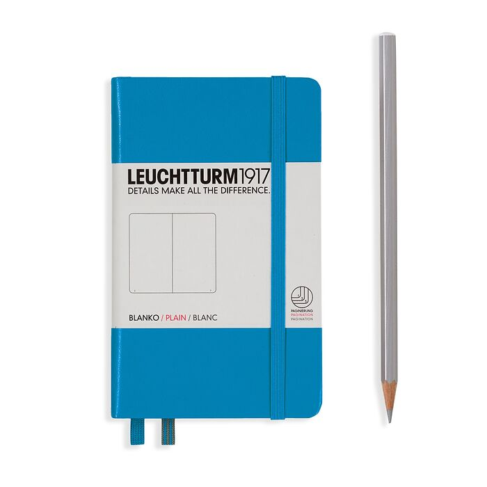 Notebook Pocket (A6), Hardcover, 187 numbered pages, Azure,  plain