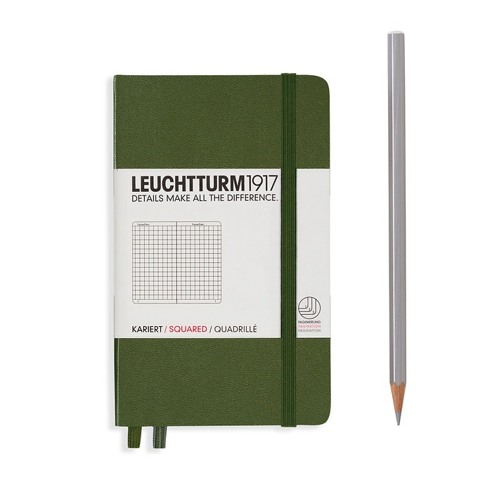 Notebook Pocket (A6), Hardcover, 187 numbered pages, Army, squared