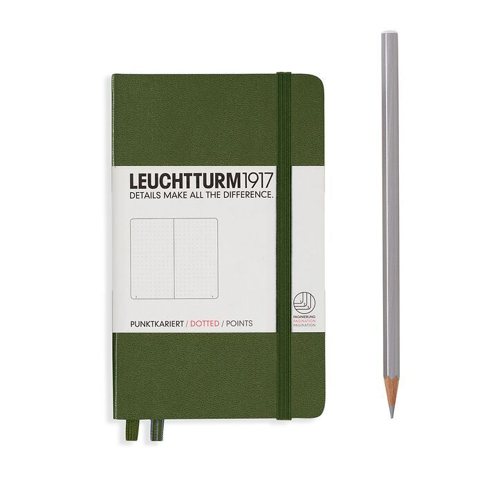 Notebook Pocket (A6), Hardcover, 187 numbered pages, Army, dotted