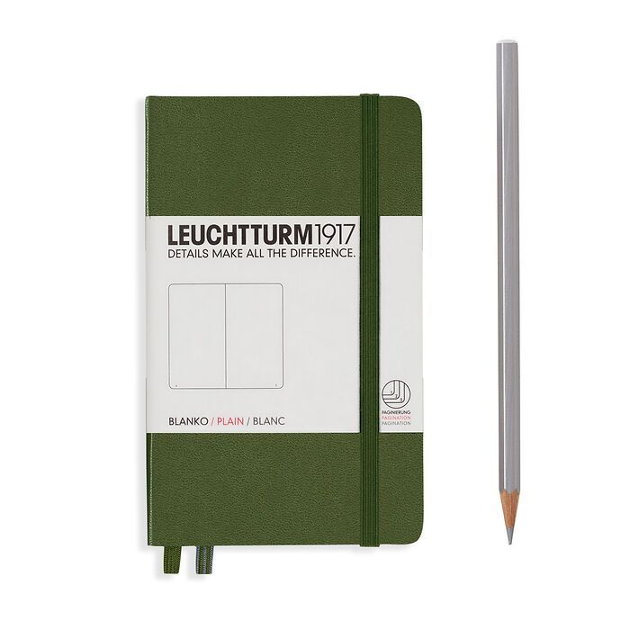 Notebook Pocket (A6), Hardcover, 187 numbered pages, Army, plain