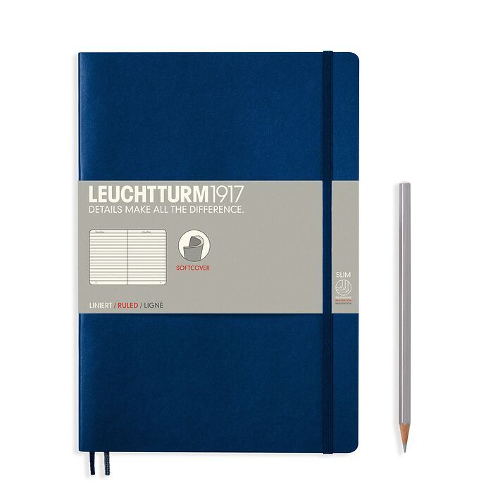 Notebook Composition (B5), Softcover, 123 numbered pages, Navy, ruled