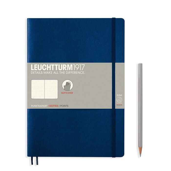 Notebook Composition (B5), Softcover, 123 numbered pages, Navy, dotted
