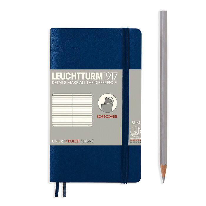 Notebook Pocket (A6), Softcover, 123 numbered pages, Navy, ruled