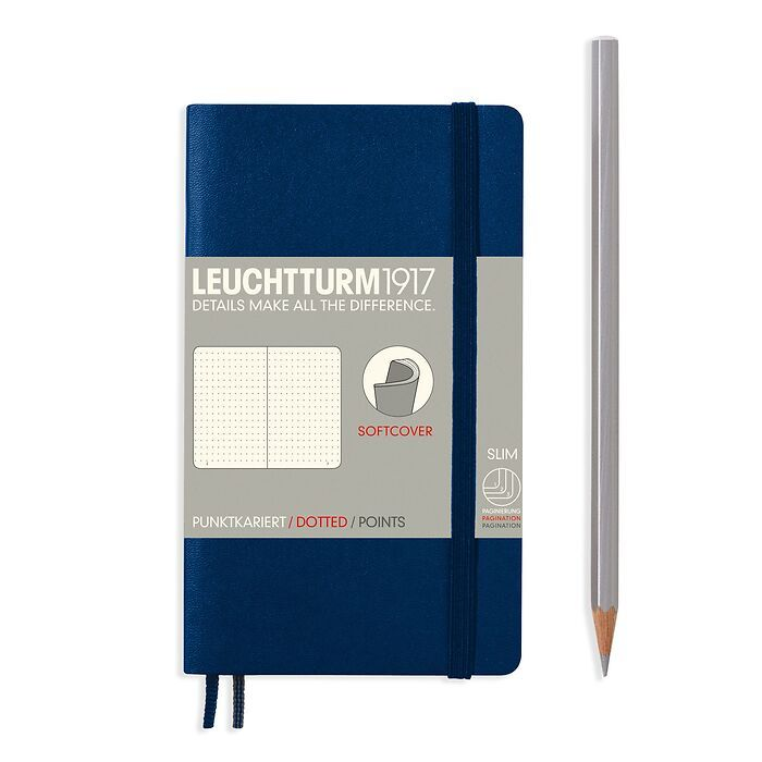 Notebook Pocket (A6), Softcover, 123 numbered pages, Navy, dotted